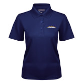 Ladies Navy Dry Mesh Polo-Word Mark