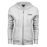 ENZA Ladies White Fleece Full Zip Hoodie-Word Mark