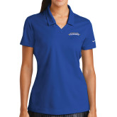 Ladies Nike Golf Dri Fit Royal Micro Pique Polo-Word Mark