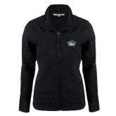 Ladies Black Softshell Jacket-Primary Mark