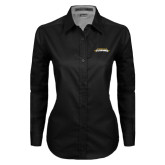 Ladies Black Twill Button Down Long Sleeve-Word Mark