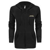 ENZA Ladies Black Light Weight Fleece Full Zip Hoodie-Word Mark