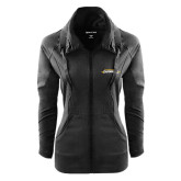 Ladies Sport Wick Stretch Full Zip Black Jacket-Word Mark