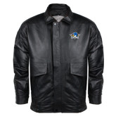 Black Leather Bomber Jacket-Primary Mark