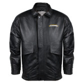 Black Leather Bomber Jacket-Word Mark