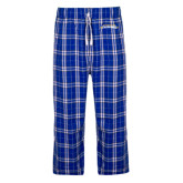 Royal/White Flannel Pajama Pant-Word Mark