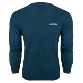 Classic Mens V Neck Moroccan Blue Sweater-Word Mark