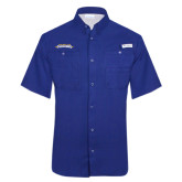 Columbia Tamiami Performance Royal Short Sleeve Shirt-Word Mark