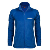 Ladies Fleece Full Zip Royal Jacket-Word Mark