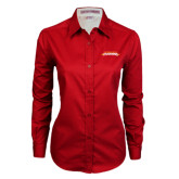 Ladies Red Twill Button Down Long Sleeve-Word Mark