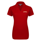 Ladies Red Dry Zone Grid Polo-Word Mark