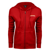 ENZA Ladies Red Fleece Full Zip Hoodie-Word Mark