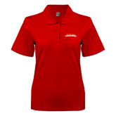 Ladies Easycare Red Pique Polo-Word Mark
