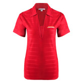 Ladies Red Horizontal Textured Polo-Word Mark