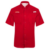 Columbia Tamiami Performance Red Short Sleeve Shirt-Word Mark