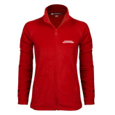 Ladies Fleece Full Zip Red Jacket-Word Mark
