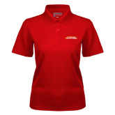 Ladies Red Dry Mesh Polo-Word Mark