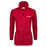 Columbia Ladies Full Zip Red Fleece Jacket-Word Mark