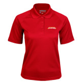 Ladies Red Textured Saddle Shoulder Polo-Word Mark