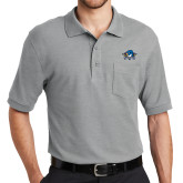 Grey Easycare Pique Polo w/Pocket-Primary Mark