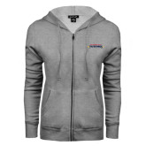 ENZA Ladies Grey Fleece Full Zip Hoodie-Word Mark