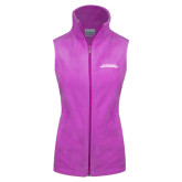Columbia Ladies Full Zip Lilac Fleece Vest-Word Mark