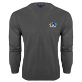 Classic Mens V Neck Charcoal Heather Sweater-Primary Mark