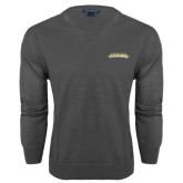 Classic Mens V Neck Charcoal Heather Sweater-Word Mark