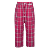 Ladies Dark Fuchsia/White Flannel Pajama Pant-Word Mark