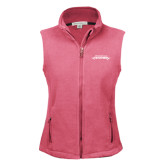 Ladies Fleece Full Zip Raspberry Vest-Word Mark