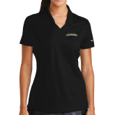 Ladies Nike Golf Dri Fit Black Micro Pique Polo-Word Mark
