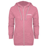 ENZA Ladies Hot Pink Marled Full Zip Hoodie-Word Mark