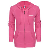 ENZA Ladies Hot Pink Light Weight Fleece Full Zip Hoodie-Word Mark