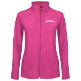 Ladies Fleece Full Zip Raspberry Jacket-Word Mark