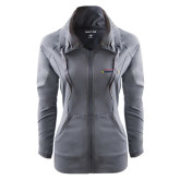 Ladies Sport Wick Stretch Full Zip Charcoal Jacket-Word Mark