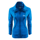 Ladies Sport Wick Stretch Full Zip Sapphire Jacket-Word Mark