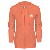 ENZA Ladies Coral Light Weight Fleece Full Zip Hoodie-Primary Mark