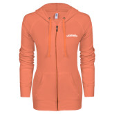 ENZA Ladies Coral Light Weight Fleece Full Zip Hoodie-Word Mark