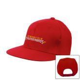 Red Flat Bill Snapback Hat-Word Mark