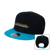 Black/Sapphire Wool Blend Flat Bill Snapback Hat-Word Mark