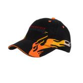 Black Flame Twill w/Orange Sandwich Structured Hat-Word Mark