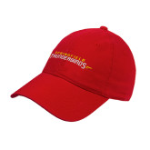 Red Twill Unstructured Low Profile Hat-Word Mark