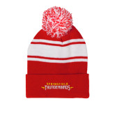Red/White Two Tone Knit Pom Beanie with Cuff-Word Mark