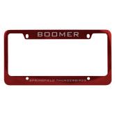 Metal Red License Plate Frame-Boomer