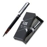 Cutter & Buck Black/Tortoise Shell Draper Ballpoint Pen-Word Mark Engraved