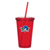 Madison Double Wall Red Tumbler w/Straw 16oz-Primary Mark