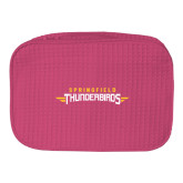 Large Hot Pink Waffle Cosmetic Bag-Word Mark