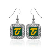 Crystal Studded Square Pendant Silver Dangle Earrings-Athletic TU