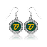Crystal Studded Round Pendant Silver Dangle Earrings-Athletic TU