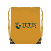 Gold Drawstring Backpack-TU with Tiffin Universrity Horizontal